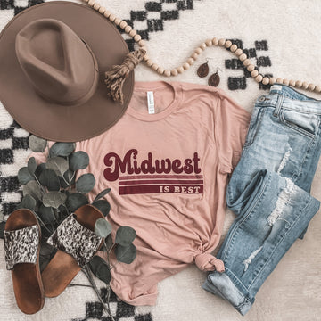 """""""Midwest is Best"""" Graphic Tee in Peach"""