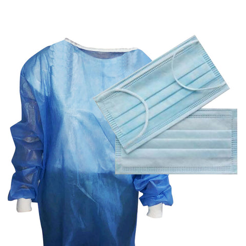 Sterile Disposable Surgical Gown & Type IIR Mask Bundle (£4.25 each)