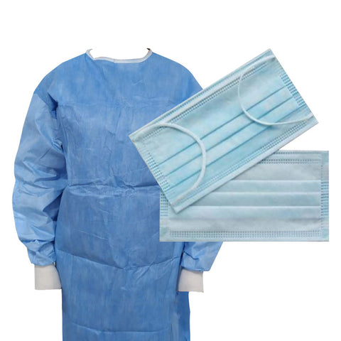 Non Sterile Single Use Standard Performance Surgical Gowns - Small  & Type IIR Mask Bundle (£3.99 each)