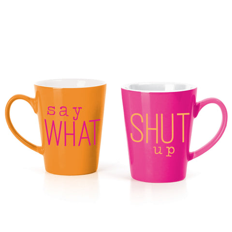 MUG BOX SET  PINK/ORG SAY WHAT