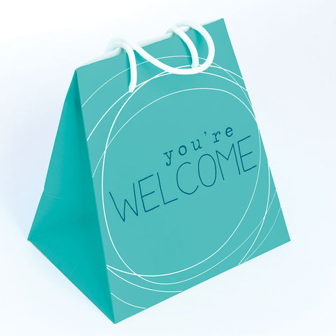 GIFT BAG LARGE  TURQ/WELCOME