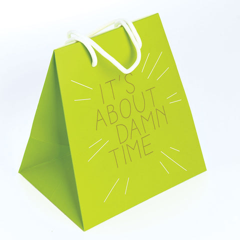 GIFT BAG LARGE  GREEN/TIME