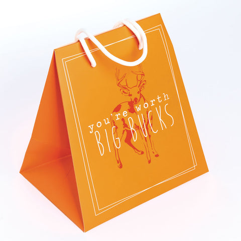 GIFT BAG LARGE  ORANGE/DEER