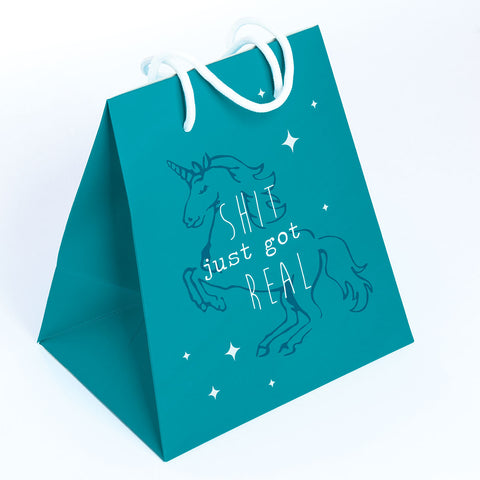 GIFT BAG LARGE  BLUE/UNICORN