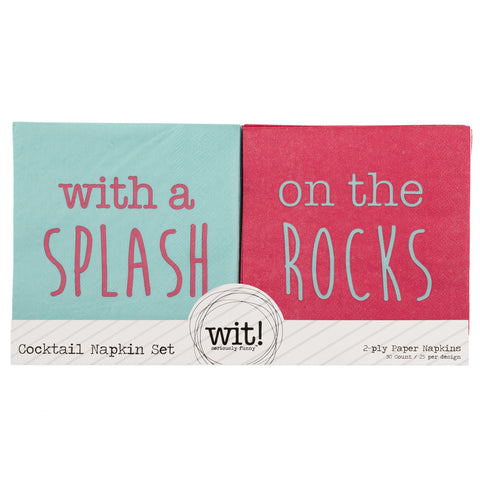 NAPKIN SET  WITH A SPLASH/ON THE ROCKS (S17)