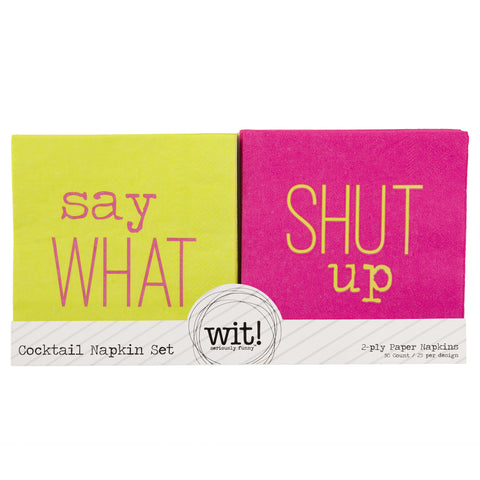NAPKIN SET  SAY WHAT/SHUT UP (S17)