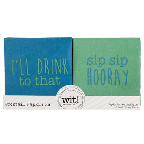 NAPKIN SET  I'LL DRINK TO THAT/SIP SIP HOORAY (S17)