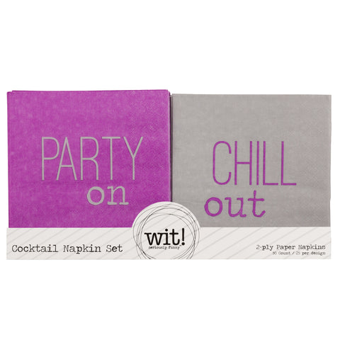 NAPKIN SET  PARTY ON/CHILL OUT (S17)