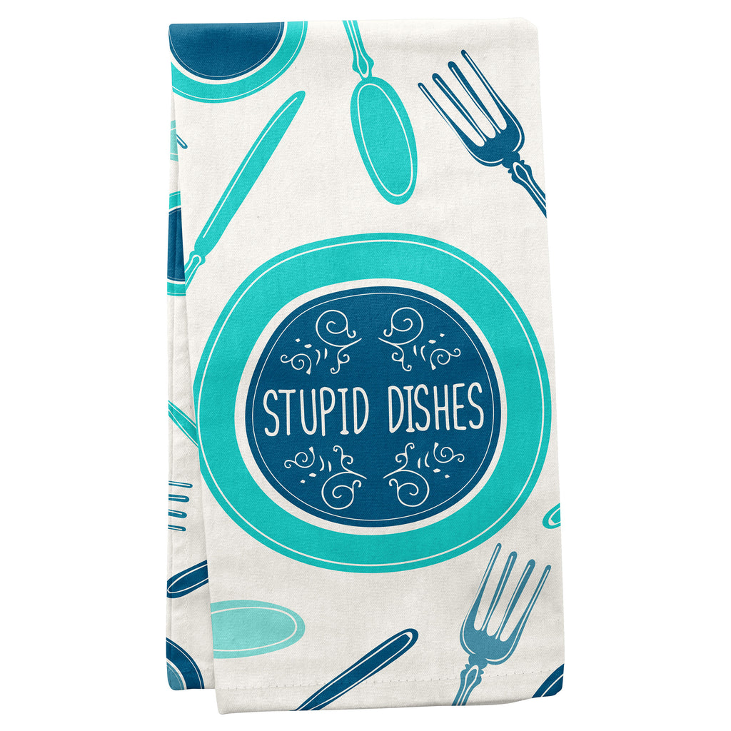 TEA TOWELS STUPID DISHES (S19)