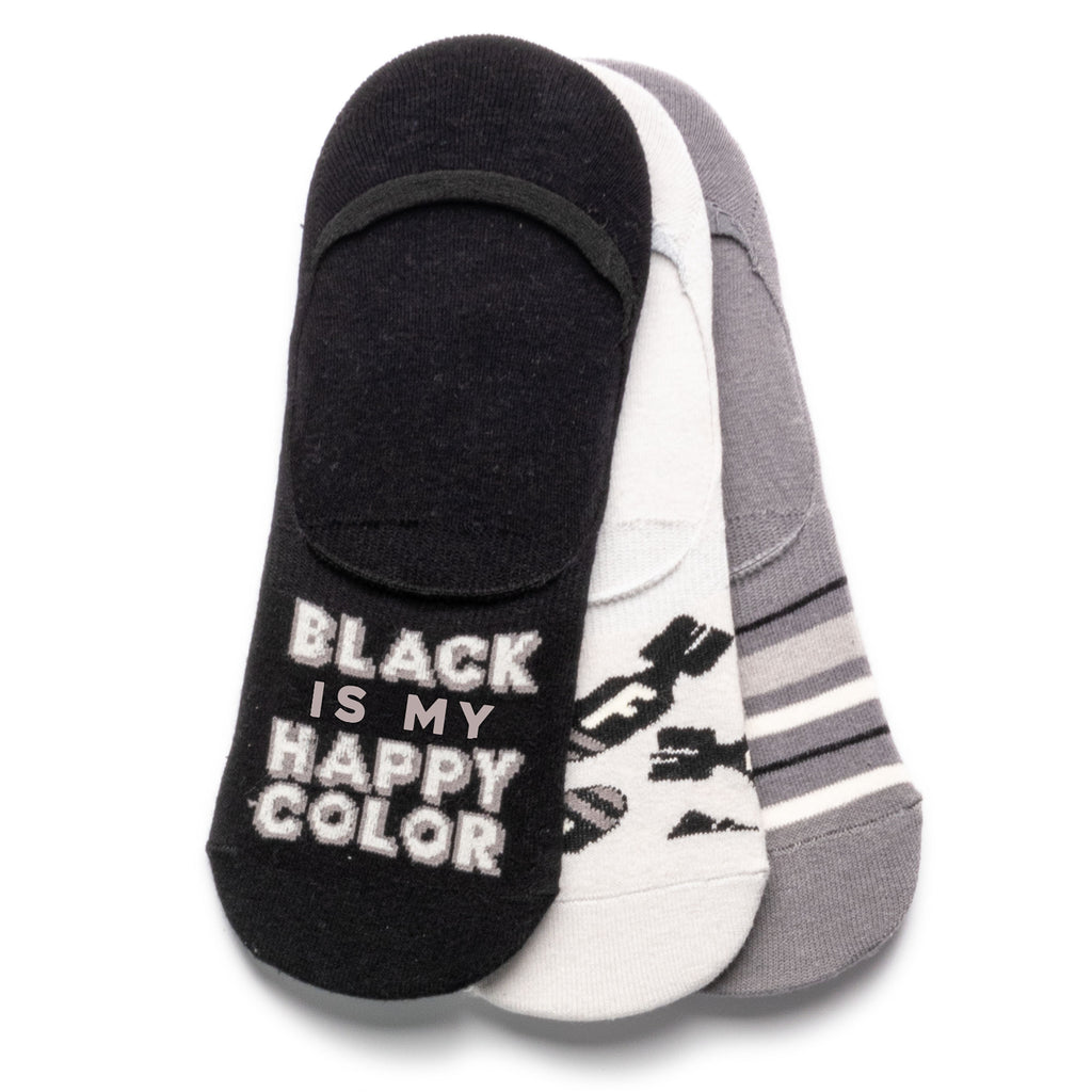 NO SHOW SOCK SET OF 3 BLACK (S20)