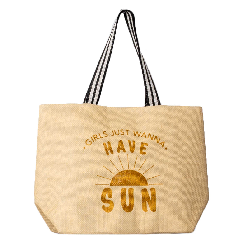 STRAW BEACH TOTE  GIRLS JUST WANNA HAVE SUN (S20)