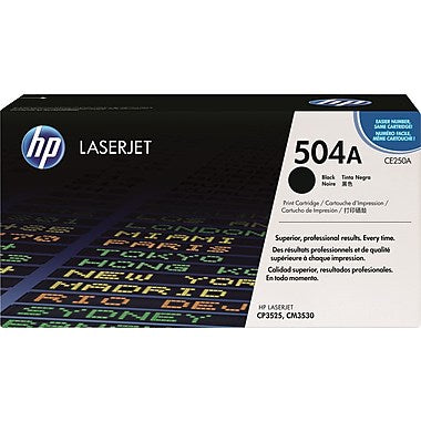 HP 504A (CE250A) Color LaserJet CM3530 MFP CP3525 Black Original LaserJet Toner Cartridge (5000 Yield)