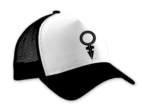 ANDROGYNOUS SYMBOL BLACK ON BLACK/WHITE/BLACK PRINTED-5 PANEL - CAP