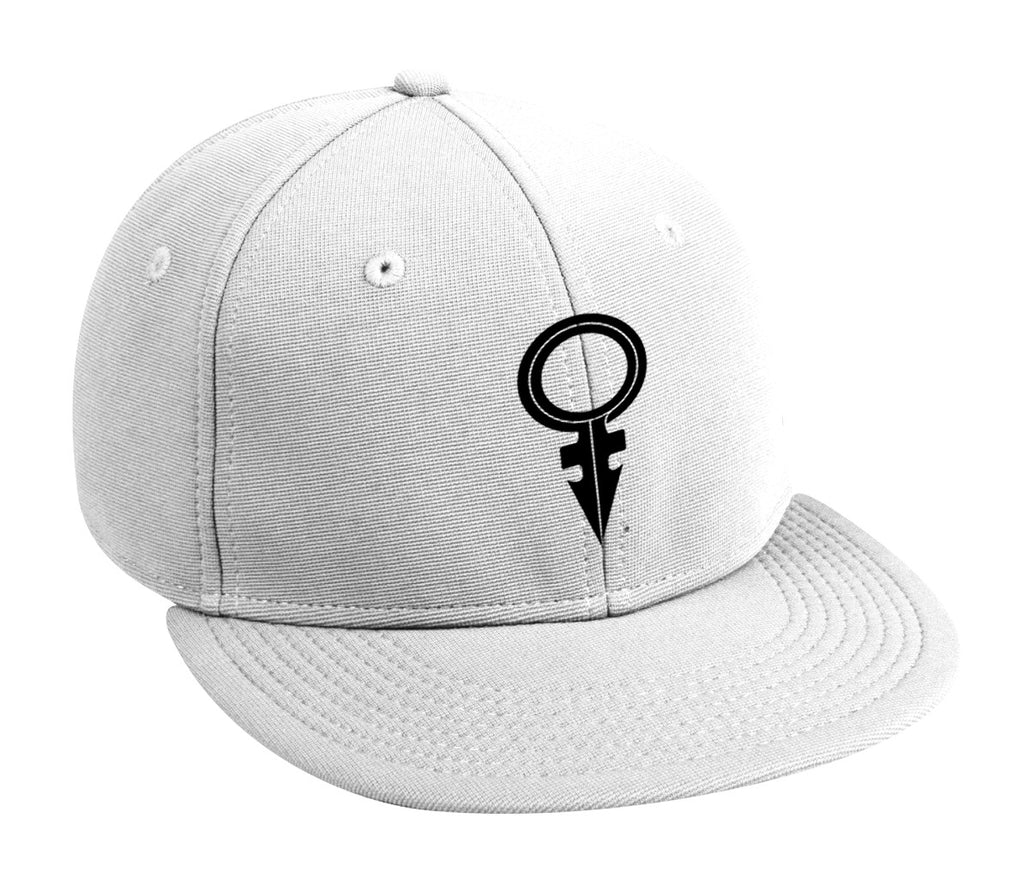 ANDROGYNOUS SYMBOL BLACK ON WHITE PRINTED-6 PANEL - COTTON CAP