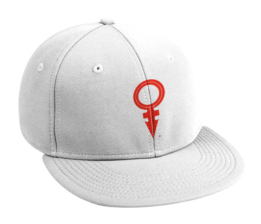 ANDROGYNOUS SYMBOL RED ON WHITE PRINTED -6 PANEL - COTTON CAP