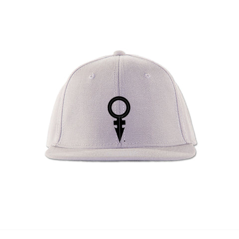 ANDROGYNOUS SYMBOL BLACK ON WHITE PRINTED - SNAPBACK CAP