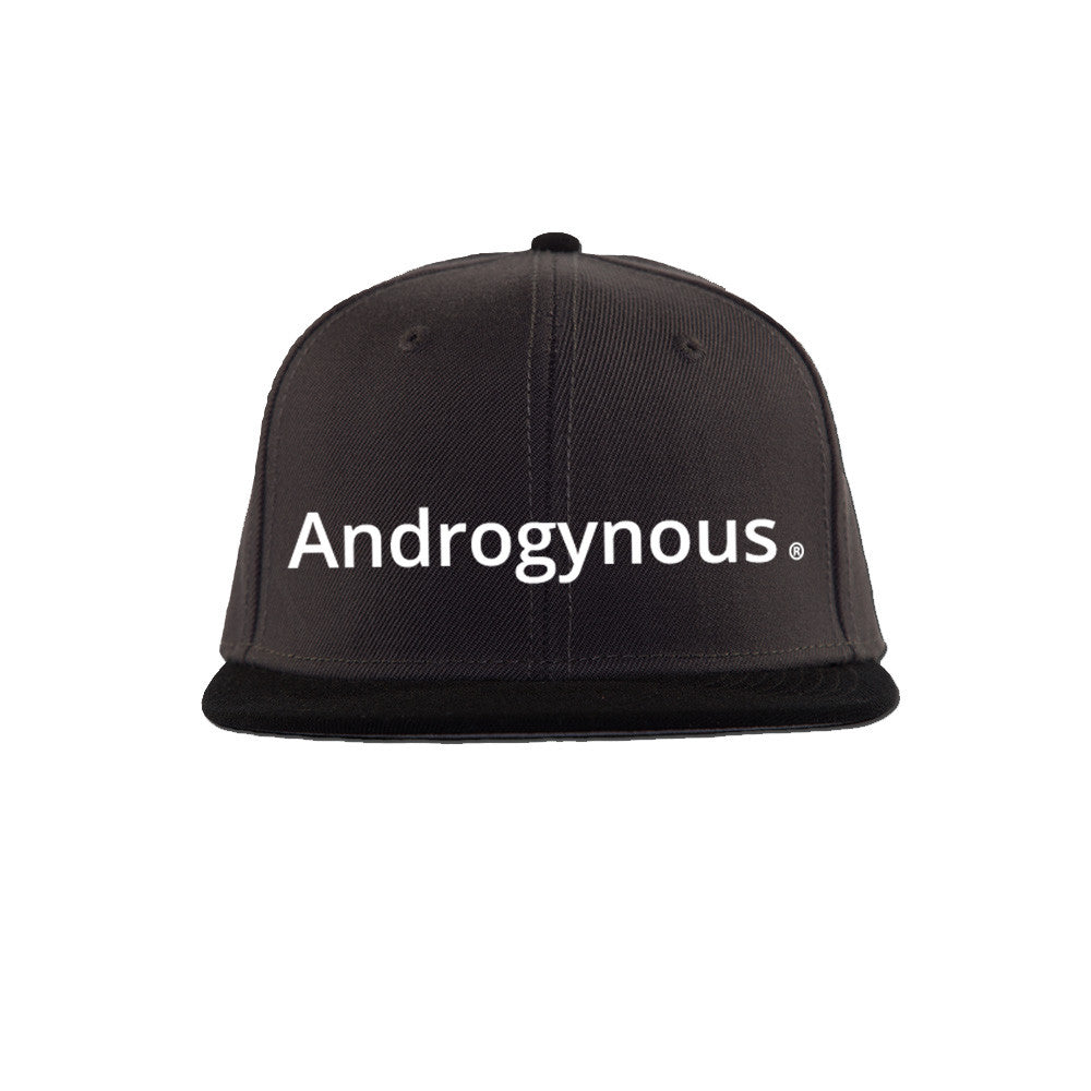 ANDROGYNOUS WHITE ON BLACK PRINTED - SNAPBACK CAP