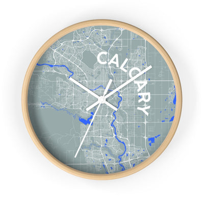 Moder City Wall Clock of Calgary / With City Name / Divider Lines