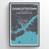 Charlottetown City Map Print street wall art