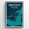 Deep Cove City Map Print street wall art