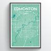 Edmonton City Map Print street wall art