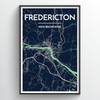 Fredericton City Map Print street wall art