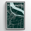Fort Langley City Map Print street wall art