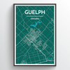 Guelph City Map Print street wall art
