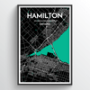Hamilton City Map Print street wall art