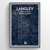Langley City Map Print street wall art