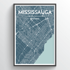 Missisauga City Map Print street wall art
