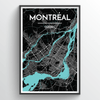 Montreal City Map Print street wall art