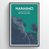Nanaimo City Map Print street wall art