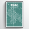 Regina City Map Print street wall art
