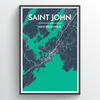 Saint John City Map Print street wall art