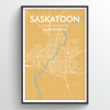 Saskatoon City Map Print street wall art