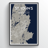 St. John's City Map Print street wall art