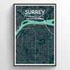 Surrey City Map Print street wall art