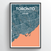 Toronto Neighbourhood City Map Print street wall art