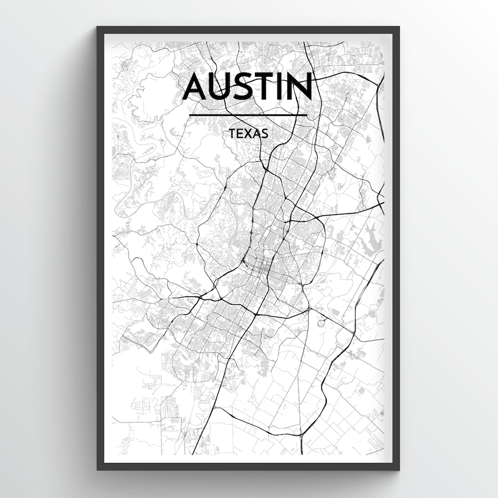 Austin City Map Print, Starting @ $29 & Free Shipping Options, Point ...