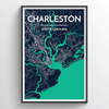 Charleston city map Print street wall art for your home or office made from real mapping data of Charleston.