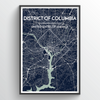 Washington DC city map Print street wall art