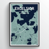 Excelsior City Map Print street wall art