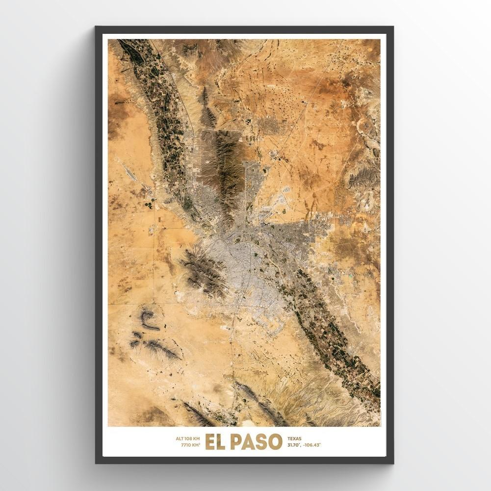 El Paso Texas Satellite Imagery Art Print - High Resolution Travel ...