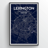 Lexington City Map Print street wall art