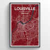 Louisville City Map Print street wall art