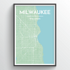 Milwaukee Neighbourhood City Map Print street wall art