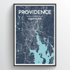 Providence City Map Print street wall art
