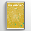 San Antonio Map Art