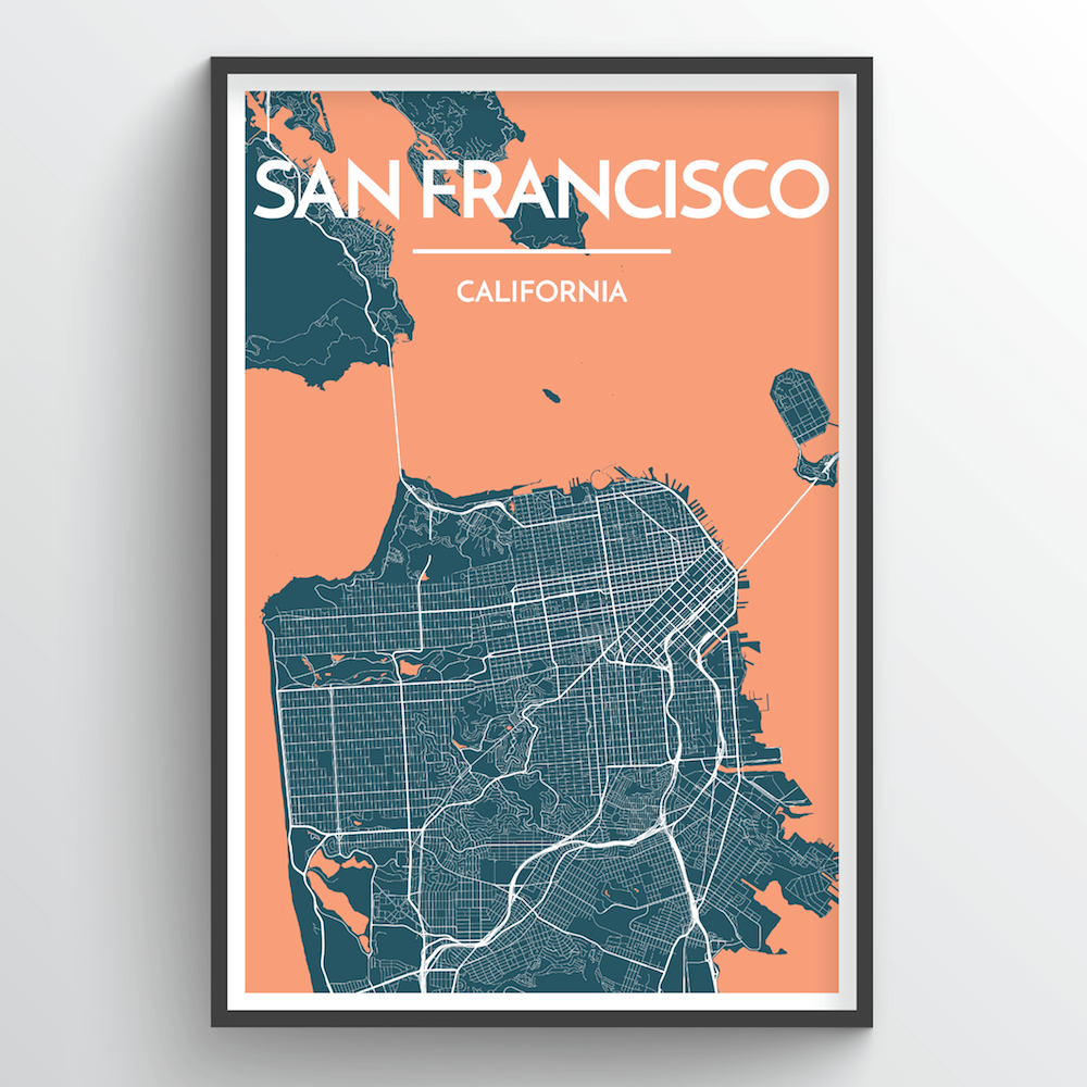 San Francisco California Map Art Point Two Design